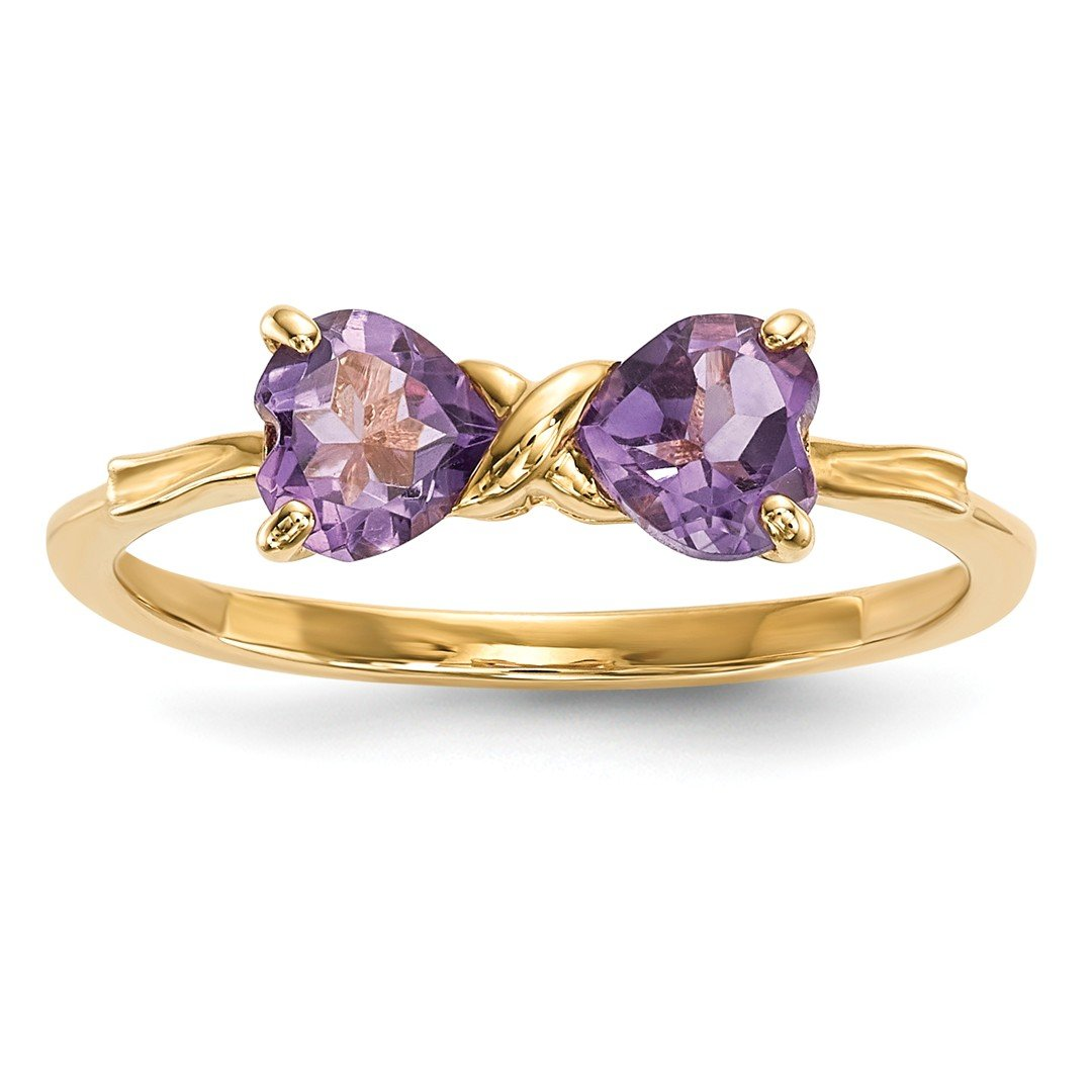 ICE CARATS 14k Yellow Gold Purple Amethyst Bow Band Ring Size 7.00 Birthstone February Set Style Fine Jewelry Gift Set For Women Heart