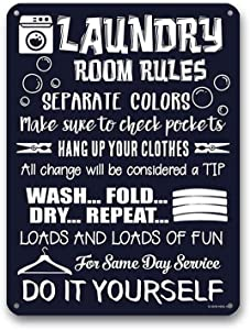 Goutoports Laundry Room Vintage Metal Sign Laundry Room Rules Decorative Signs Wash Room Home Decor Art Signs 7.9x11.8 Inch