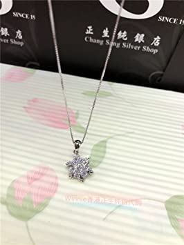 Image Unavailable Not Available For Colour Hong Kong Silver Diamond Snowflake Necklace Pendant Simple Clavicle Birthday Valentines Day Gift Send