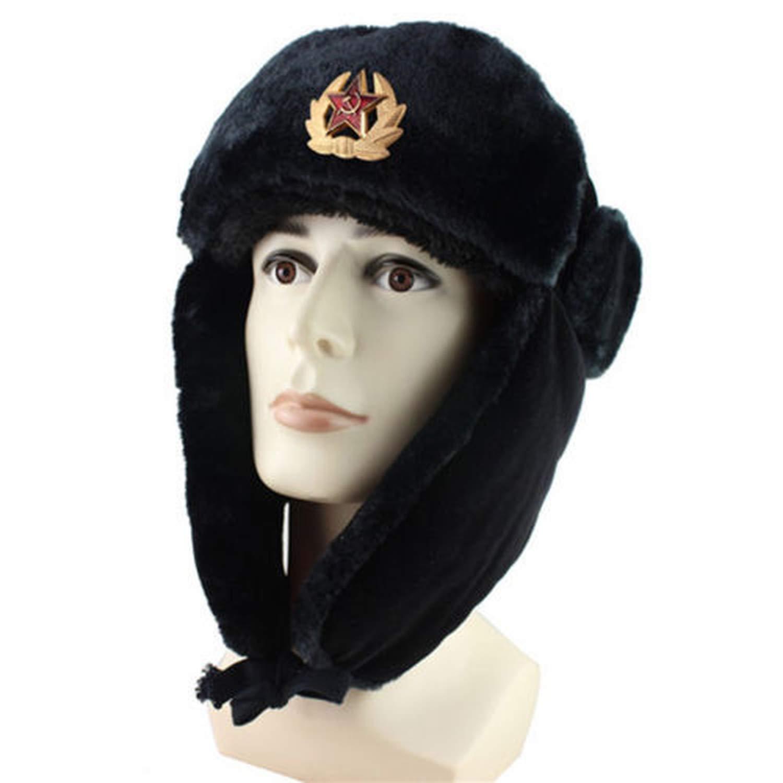 f43c5e11107 Bomber Hat Ushanka Men Women Winter Ear Flap Raccoon Fur Lamb Leather Russian  Cossack Trapper Hat