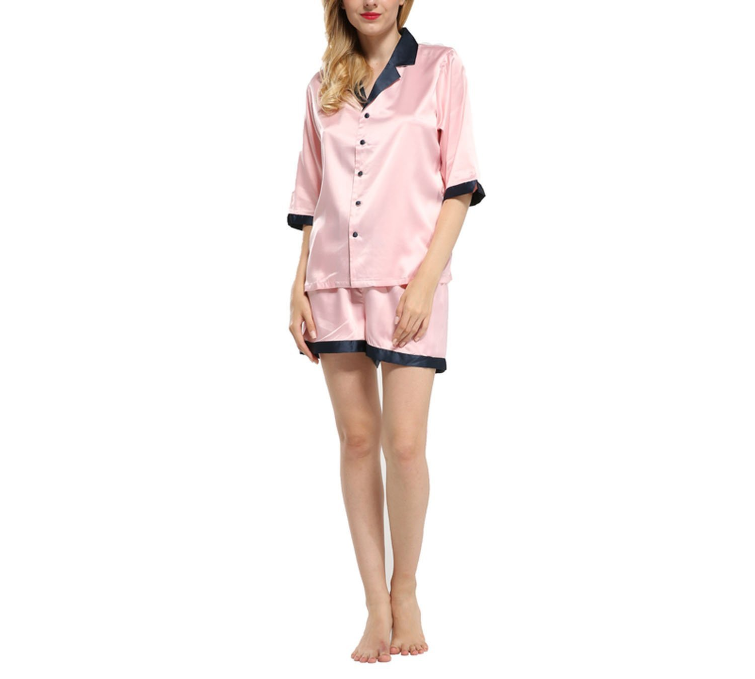 Amazon.com: Short Sleeve Satin Pajamas Sets with Blue & Pink Color Women Pijamas Set Selling Pyjamas for Female Summer Suit: Clothing
