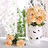 Veryhome Fiori Artificiali Rose di Seta Falso Bouquet da Sposa da Sposa per la casa Giardino Partito Decorazioni Floreali 10 Pezzi (Champagne, specie2)