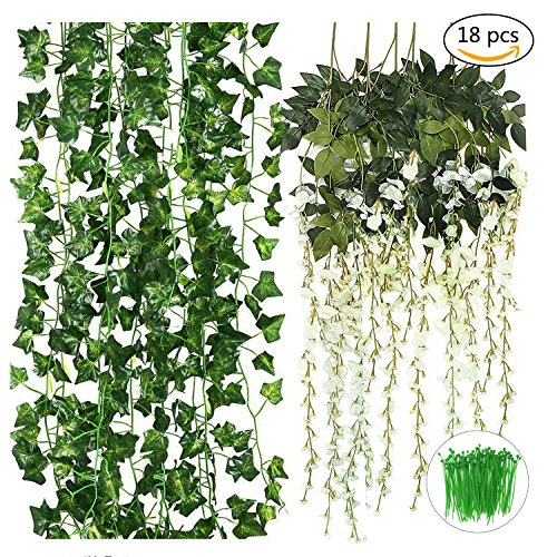 CEWOR 18pcs Artificial Flowers Vines Include 6pcs(3.6feet) Fake Silk Wisteria Vines and 12pcs(6.5feet) Fake Ivy Vines with a pack of Cable Ties for Wedding Party Garden Wall Decoration (Silk) Handmade Garden Mirror