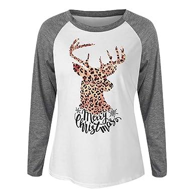 Owill Women Merry Christmas Letter Print Leopard Elk Print Raglan Patchwork T-Shirt (Gray