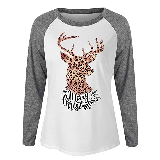 Owill Women Merry Christmas Letter Print Leopard Elk Print Raglan Patchwork T-Shirt at Amazon Womens Clothing store: