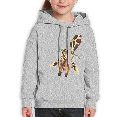 Fashion Boy's Sweatshirts,Casual Giraffe Eating Grass Cotton Hoodies Pullover For Teenage