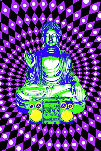Pyramid America Steez Buddha Boombox Ghetto Blaster Fluorescent Ultraviolet Psychedelic Blacklight Poster 35x23 inch