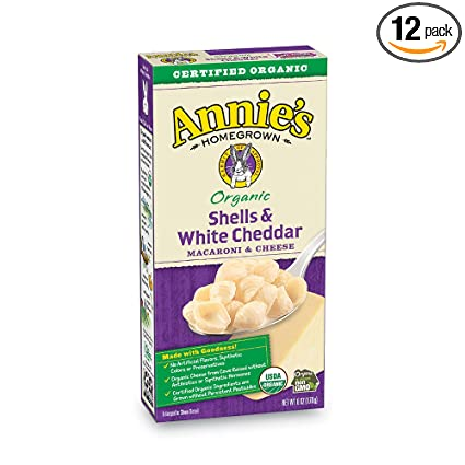 Annie's Organic Macaroni And Cheese, Shells & White Cheddar Mac And Cheese, 6 Oz Box (Pack Of 12) by Annie's Homegrown