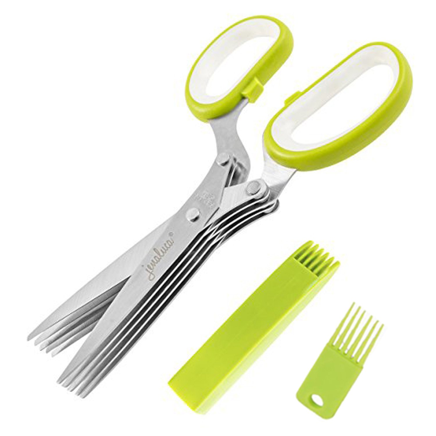 ZHYF Versatile Herb Scissors - Multi-Function Scissors with 5 Stainless Steel Blades, Safety Cover with Cover and Cleaning Comb, Used in Herbal or Office Paper, Kitchen Processing, etc.