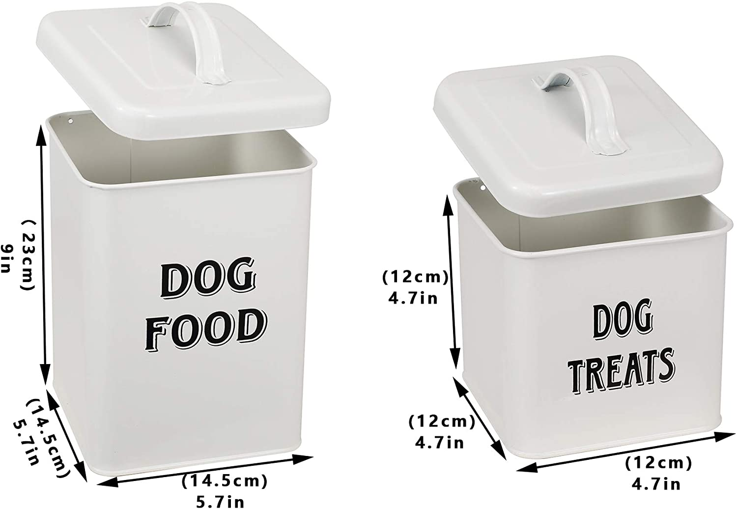Pet Supplies : Pethiy Dog Food and Treats Containers Set with Scoop for Dogs-Vintage White Powder-Coated Carbon Steel - Tight Fitting Lids - Storage Canister Tins Small-White :
