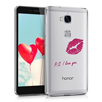 kwmobile Crystal Case Cover for Huawei Honor 5X / GR5 IMD design and TPU  silicone frame with synthetic back - transparent soft Design PS I Love You