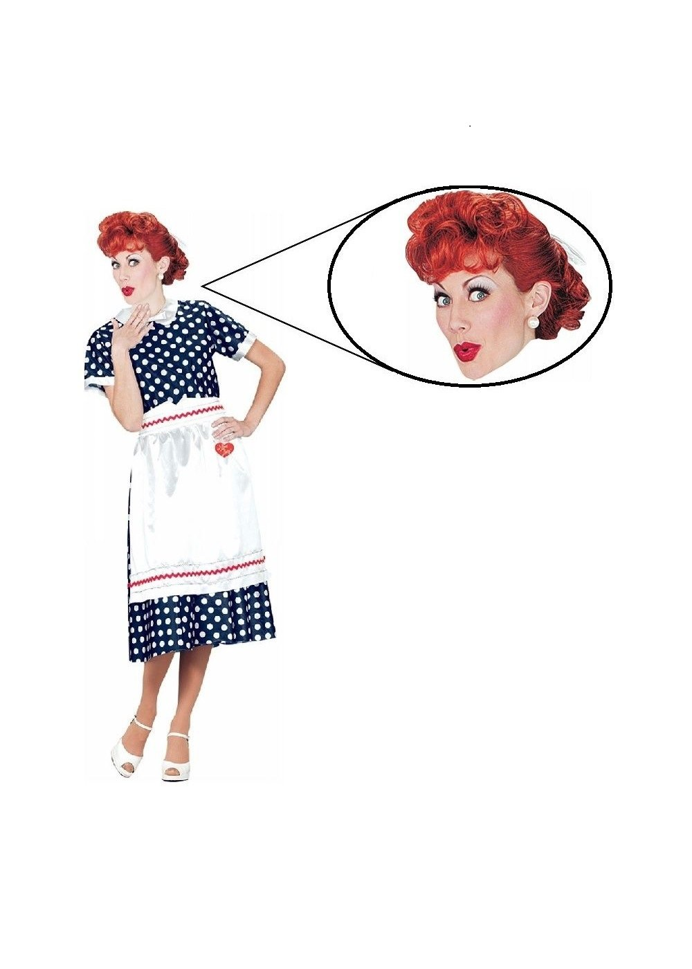 I Love Lucy TV Show Woman Costume and Wig Set (Large (14-16))