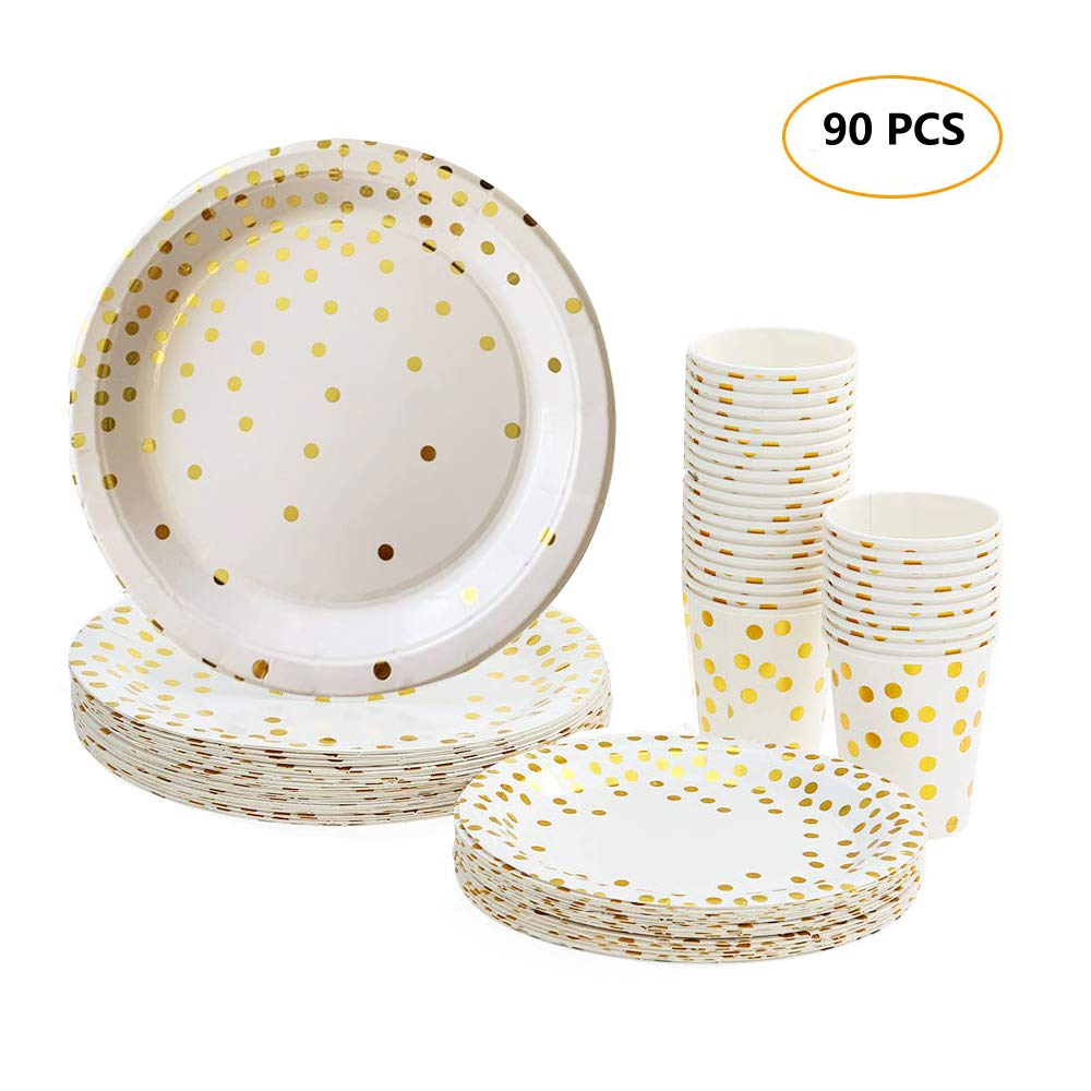 Disposable Paper Plates Cups Party Supplies, 30pcs 9oz Beverage Cups + 30pcs 7'' Dinner Plates + 30pcs 9'' Dessert Plates, Golden Polka Dot Round Tableware for Camping Wedding Birthday Christmas, 90pcs by Blusea