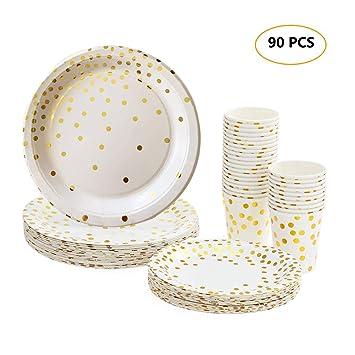 Rose Gold Einweg Pappteller 60pcs 9-Zoll-Party Geschirr Geschirr Teller f/ür Bridal Baby Shower Hochzeit Weihnachten Geburtstag Rose Gold Party Supplies