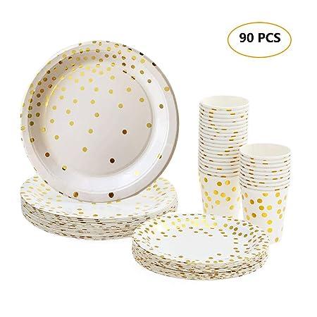 esonmus Platos Desechables y Vasos Cumpleaños, Set Vajilla Desechable Biodegradables 90 Piezas con Patrón Dorado Fiesta Boda - 30 Vasos de Papel 270ml ...