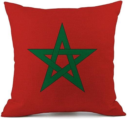 Bandera de almohada algodón Lino decorativa Funda de cojín sofá Auto Home Decor 45 x 45 cm Morocco: Amazon.es: Hogar
