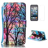iPod Touch 5/6 Case [Free Screen Protector] CasesHome Faux Leather Flip Wallet Designer with Wrist Lanyard Stand Feature Shock Absorber Folding Shell (Tree)