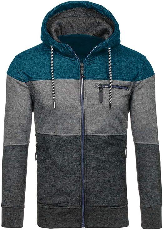 BOBOYU Men Long Sleeve Sport Full-Zip Color Block Hoodies Sweatshirts Jacket Coat