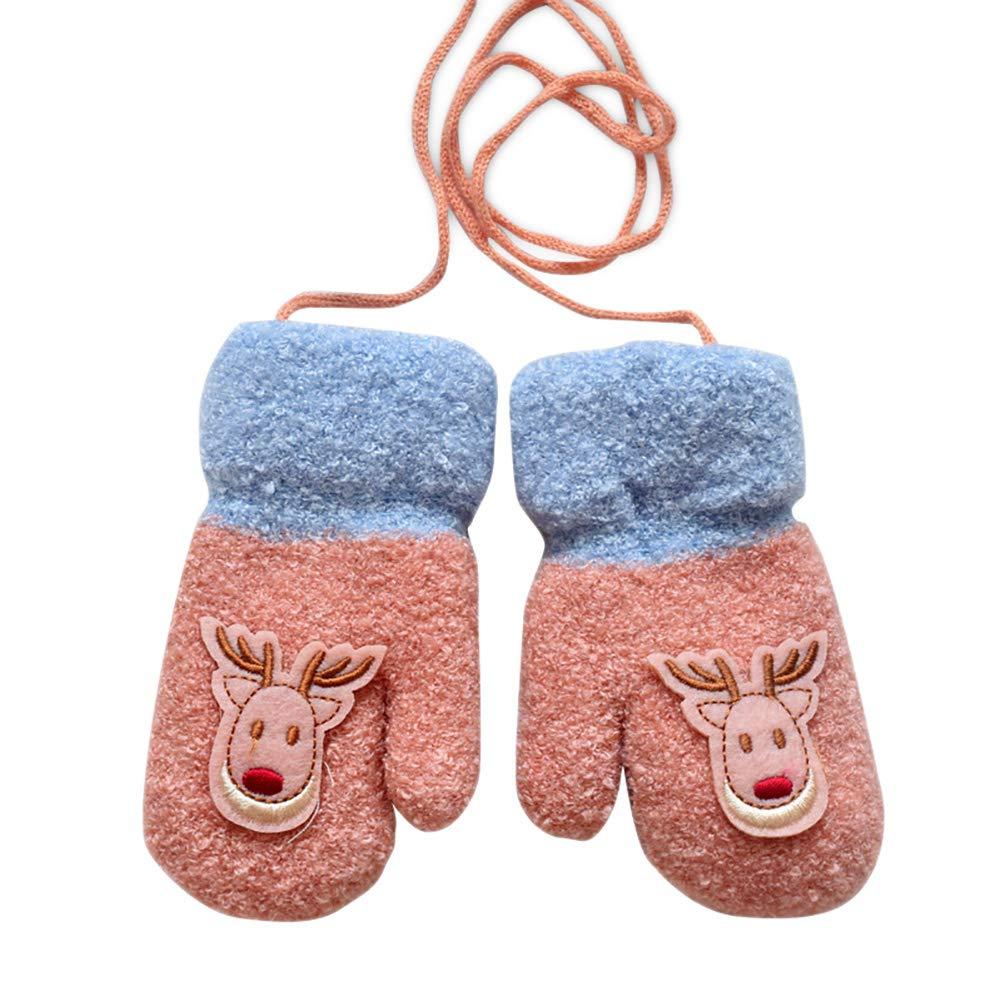 Semine Guanti caldi Cartoon Inverno Baby Wool Bambini Addensare Borsa fulmine Finger Lanyard Christmas Mittens