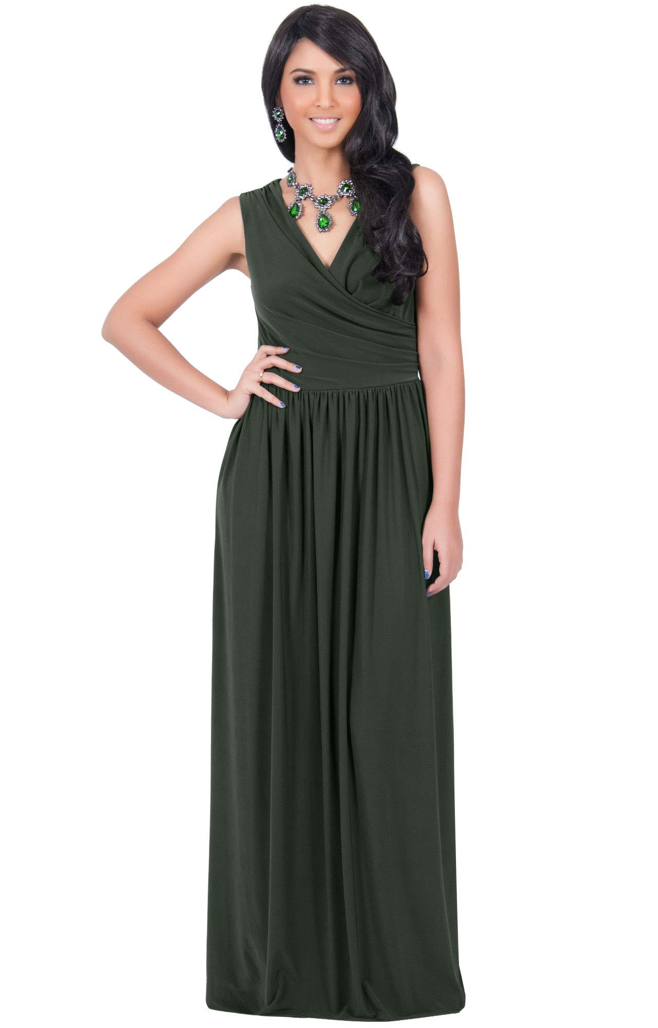 Koh Koh Womens Long Sleeveless Sexy Summer Semi Formal Bridesmaid Wedding Guest Evening Sundress Sundresses Flowy Gown Gowns Maxi Dress Dresses Olive