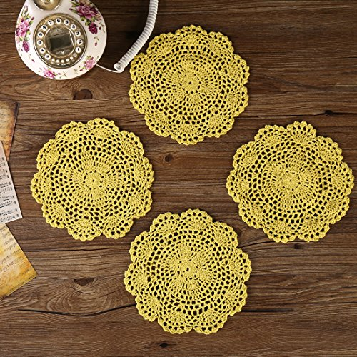 (ZORJAR Heat-Resistant Placemats for Kitchen Coasters Doilies Round Handmade Crochet Lace Cotton Lace Table Glass Coffee 7 Inch Set of 4 (Ginger))