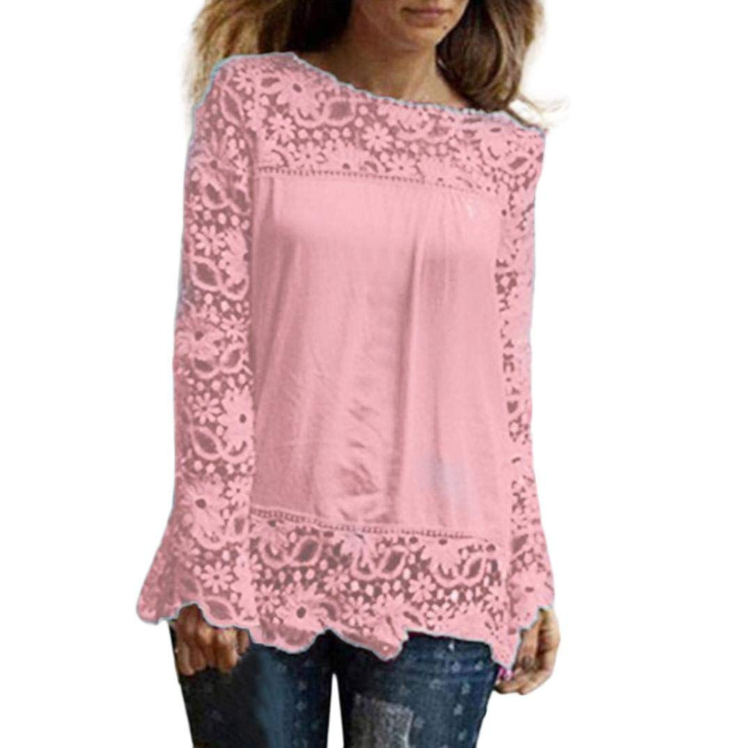 Women Plus Size Hollow Out Lace Splice Long Sleeve Shirt Casual Blouse Loose Top(Pink,Small)