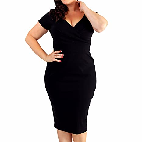 Review Samtree Women's Plus Size Deep V Neck Cocktail Party Short Sleeve Bodycon Sheath Dress