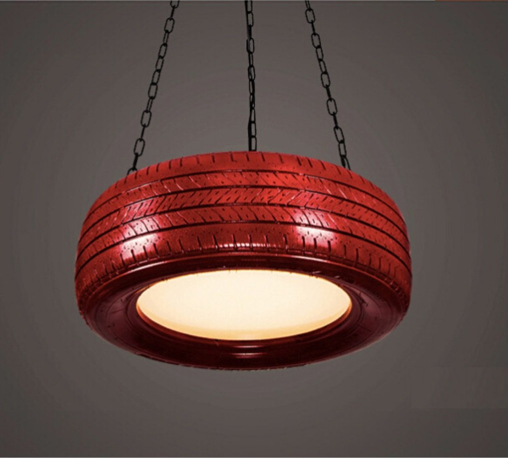 HAGDS Industrial Color Tire Chandelier American Creative Restaurant Bar Cafe Personality Clothing Store Lighting Window Chandelier Nordic Retro Fashion Modern Simple Balcony Xuan (Color : Green)