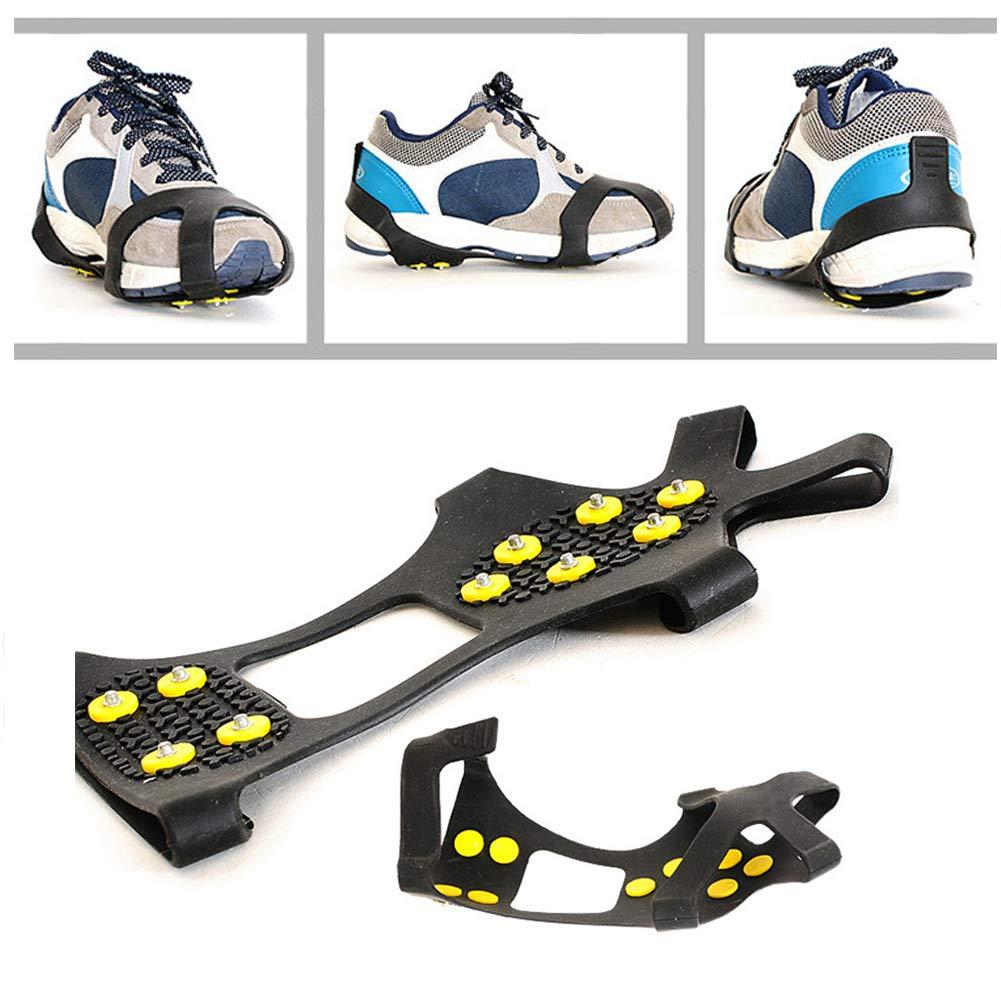Crampons Anti-d/érapants /à Traction ext/érieure pour 10 Dents Couvre-Chaussures pour lescalade la randonn/ée et la Marche ANSUG Crampons universels Ice /& Snow Grips