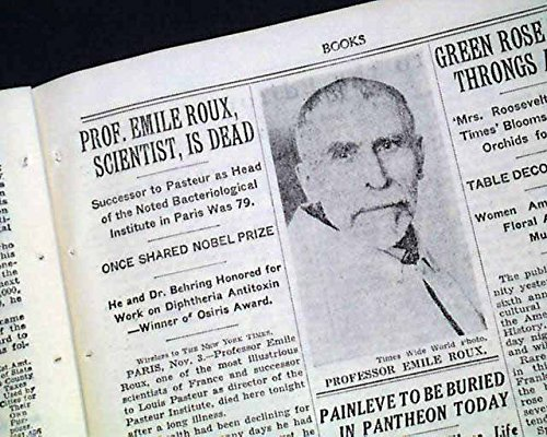 EMILE ROUX French Physician Bacteriology Diphtheria Cure DEATH 1933 Newspaper THE NEW YORK TIMES, November 4, 1933
