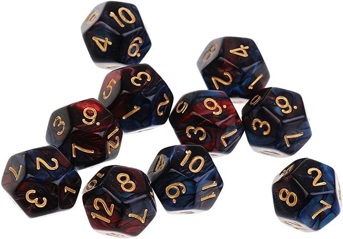 Set de 10PCS D12 Poliédricos Dados para Mazmorras y Juegos de Mesa de Dragones Rojo Azul: Amazon.es: Juguetes y juegos