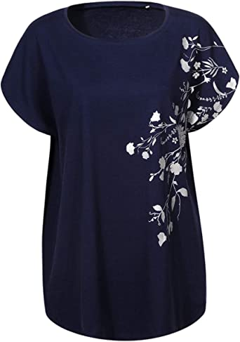 Womens Short Sleeve T Shirt Blouse Ladies Casual Print Summer Tee Tops Plus Size