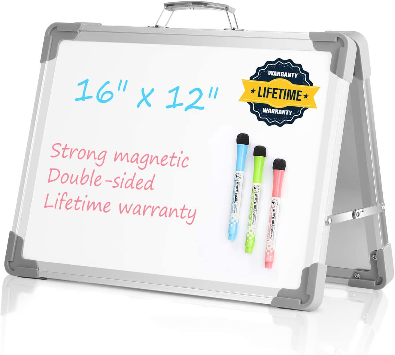 Magnetic Erasable Whiteboard Desktop Double Sided Message Board Stand Mini Easel