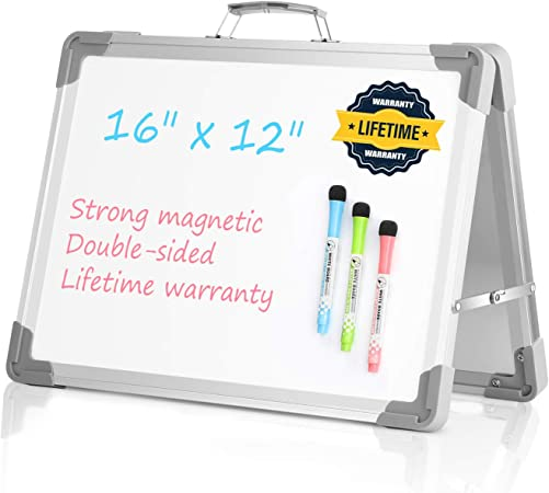 Random Pattern of Frame Toyvian Double-sided Whiteboard Cute Cartoon Plastic Drawing White Board Lovely Students Erasable Painting Writing Board with Whiteboard Marker
