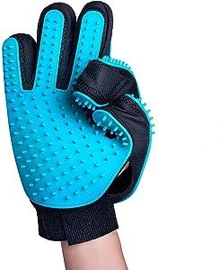 IMPHOM Pet Gloves Grooming Brush for Cat Dog Glove Double Hair Brish Fur Deshedding Tool Bath Mitt Groomer for House Cat Dog -1Pack (Blue)