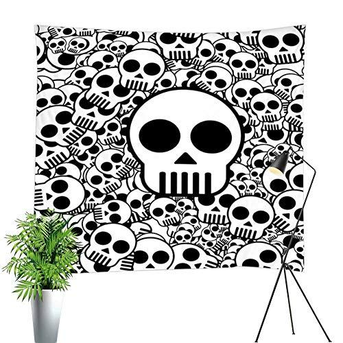 Intensive Skull Tapestry White Black Simple Line Skull Wall Decor Hanging Blanket Hippie Bohemian Background Mandala Bedding Tapestry Digital Print Halloween Theme Dorm Home Wall Decor -