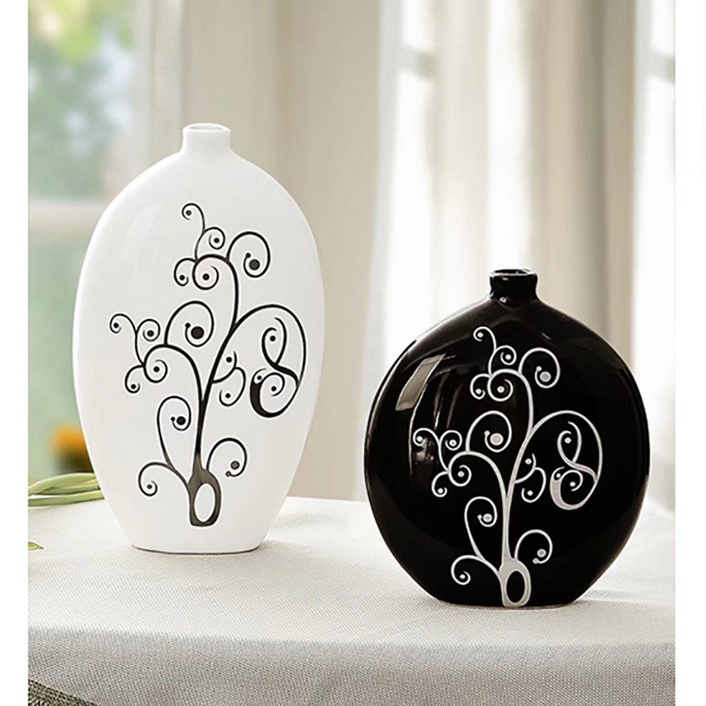 Modern Home Crafts Decoration Living Room Vase Decoration Black And White Vase Ceramic Vase