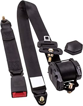 Universal Black Retractable 2 Point Auto Car Seat Belt Safety Strap Adjustable