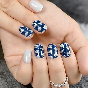 Juego de 24 piezas de uñas postizas de color azul oscuro con patrón de cisne para mujer, para manicura, herramienta Z800: Amazon.es: Belleza