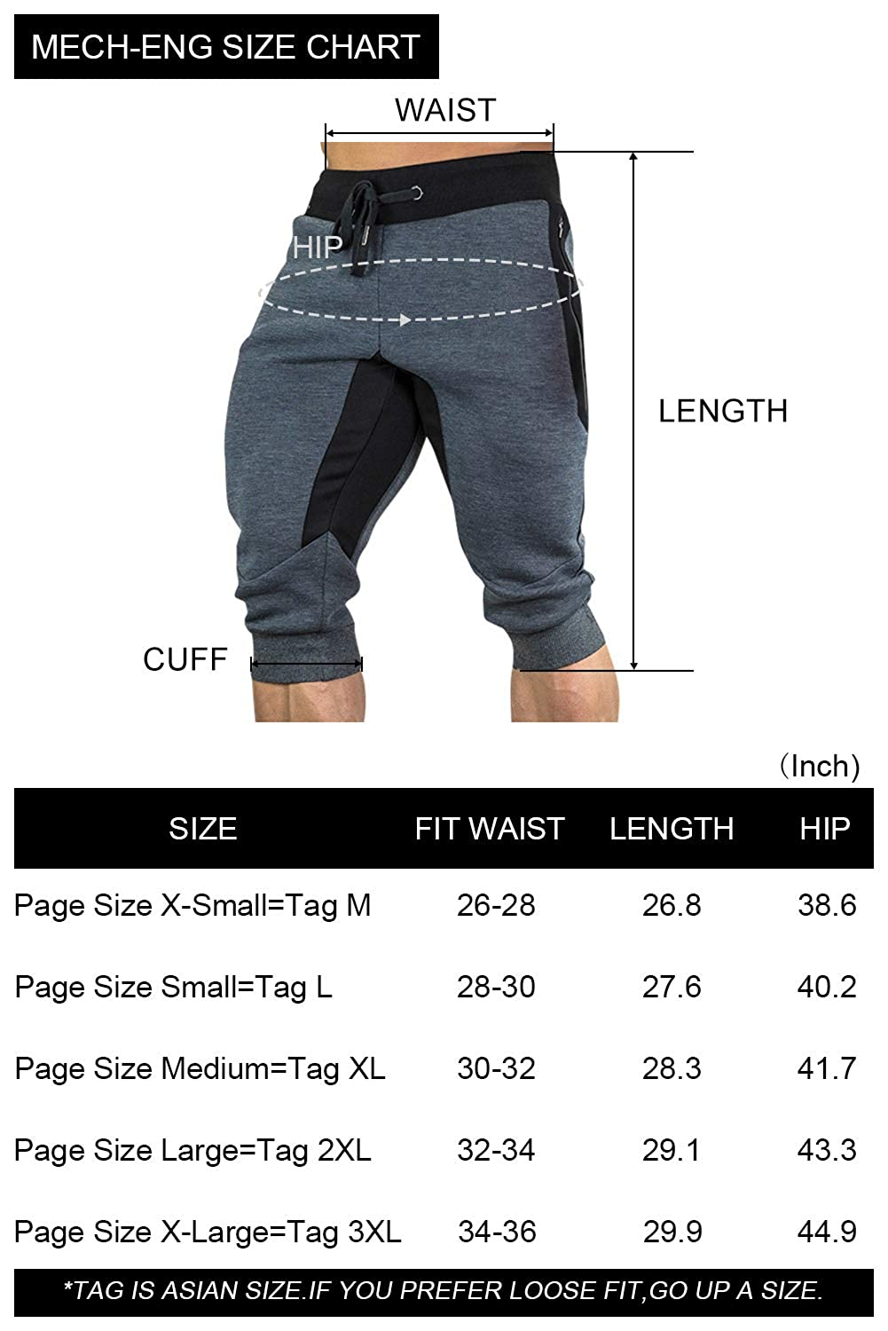 MECH-ENG Mens 3//4 Joggers Pants Workout Gym Capri Shorts Zipper Pockets