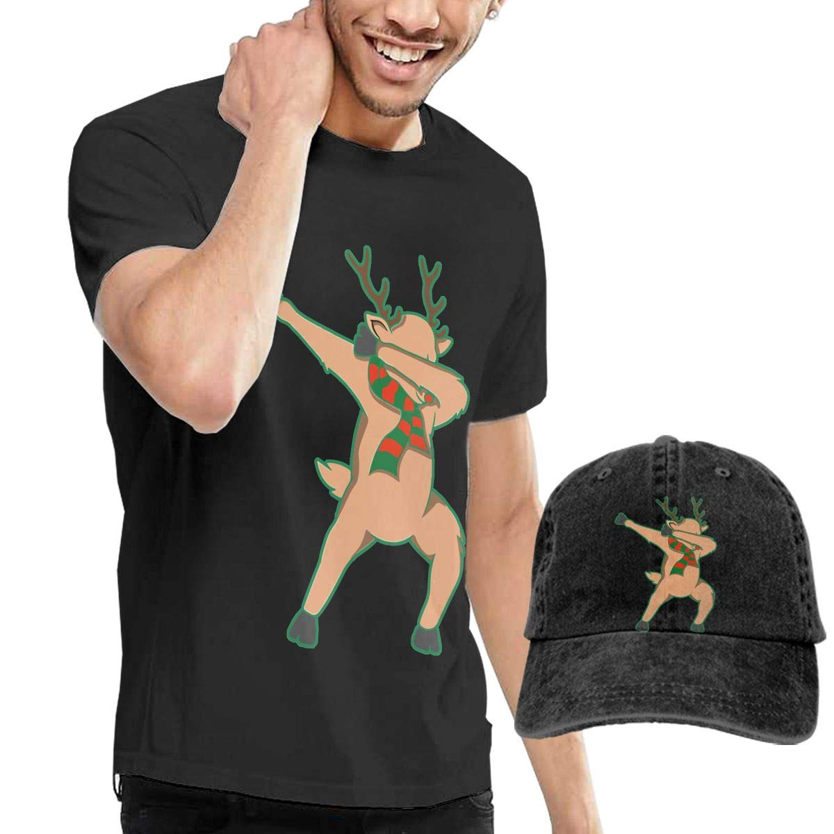 QqZXD Dabbing Reindeer Dab Dance Rudolph Christmas Fashion Mens T-Shirt and Hats Youth /& Adult T-Shirts