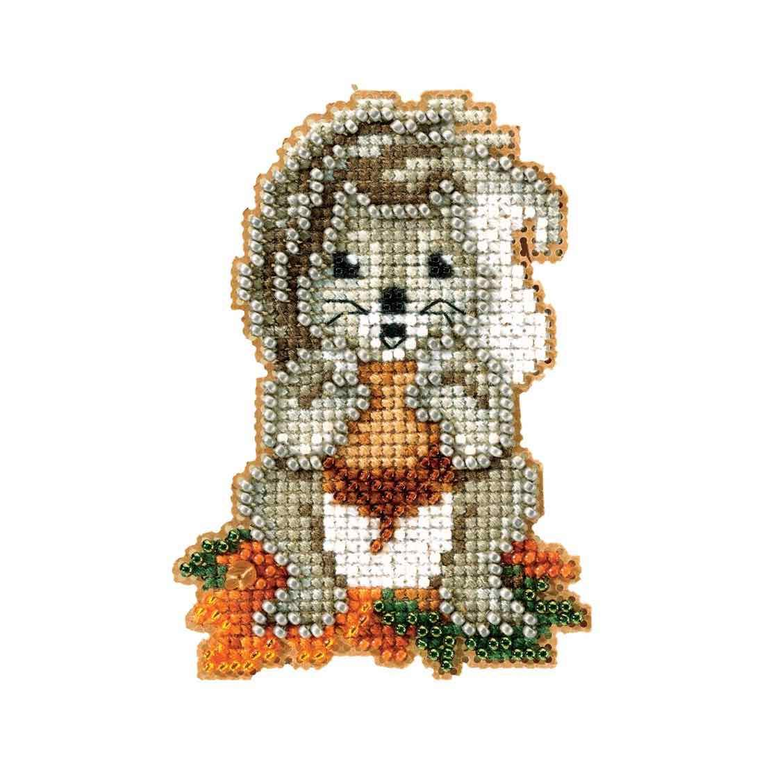 Squirrelly Beaded Counted Cross Stitch Ornament Kit Mill Hill 2012 Autumn Harvest MH18-2206 Wichelt MH182206