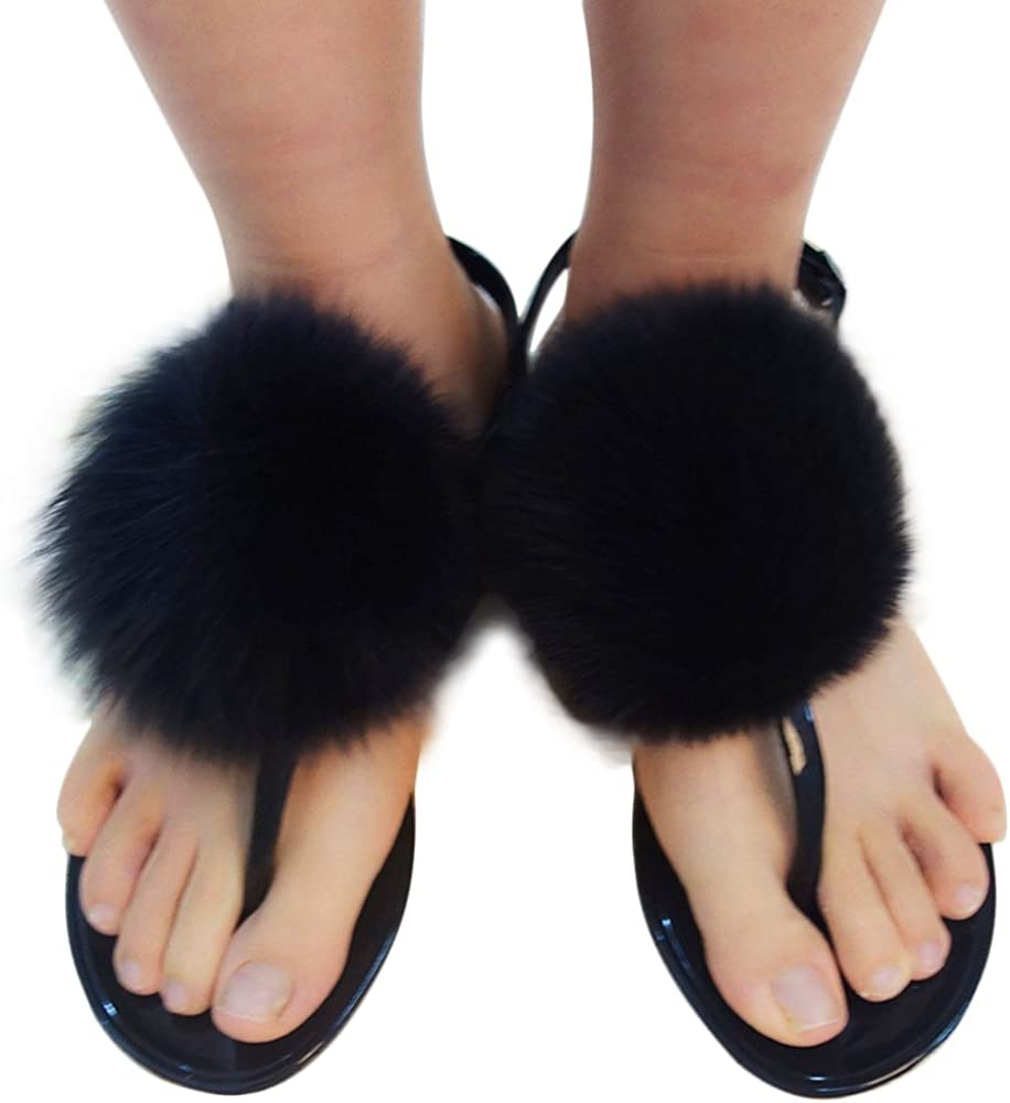 Manka Vesa Womens Fashion Cute Real Fox Fur Pom Ball Sandals T-Strap Beach Flat Shoes