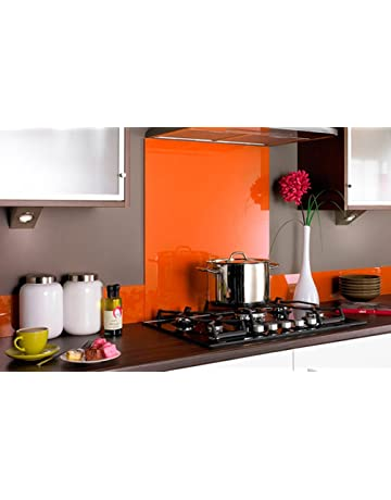 PANEL DE VIDRIO para cocina en COLOR ROJO / Cristal de Protección salpicaduras en DIFERENTES MEDIDAS
