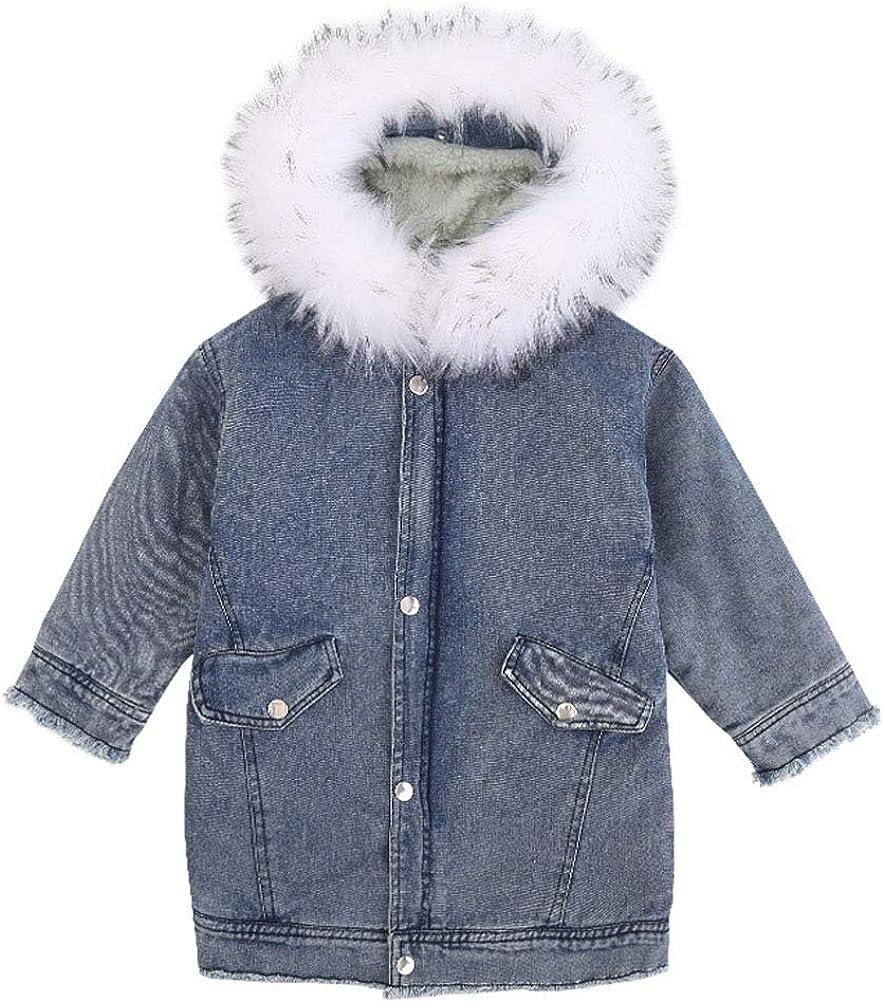 ARAUS Little Boys Girls Thick Denim Jacket Baby Fleece Lined Hoodie Jacket Coat