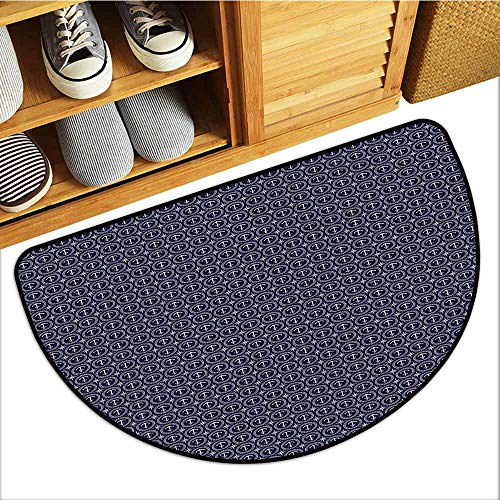 (Custom&blanket Pet Mat Machine Washable, Navy Blue Non-Slip Mats for Living Room, Windrose Anchor Circular Rope Icon Nautical Composition Marine Illustration (Dark Blue White, H20 x D32 Semicircle))