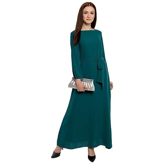 4b297b08c3a Lady Stark Women s Western Boat Neck Long Sleeve Dress (Green ...