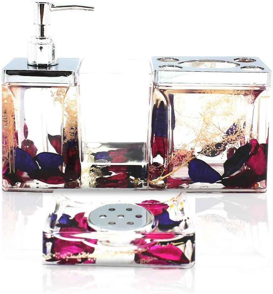 ADUTY Modern Bathroom Washing Accessories Nature Series Bathroom Organizer 4 Sets with Purple Color Dry FlowersAD022