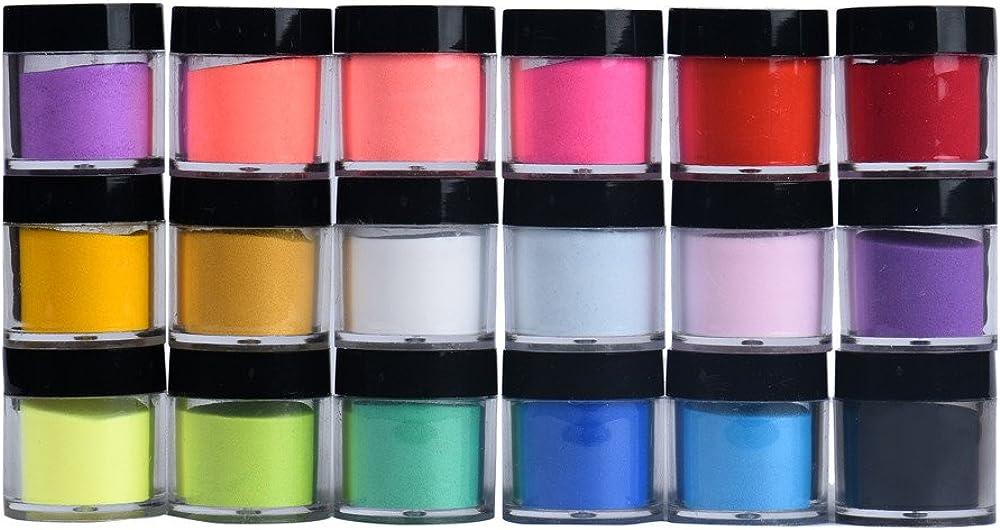 Afazfa????????18 Colors Acrylic Nail Art Tips UV Gel Powder Dust Design Decoration 3D Manicure