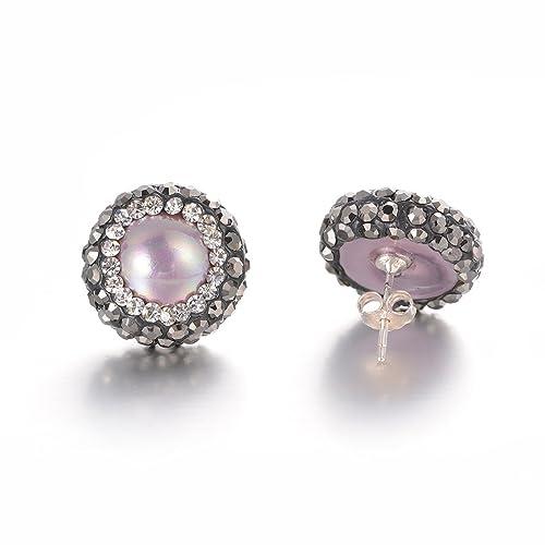 Amazon.com  Art Kim Unique Women s Simulated Shell Pearl Pave Bling  Rhinestone Cute Stud Earrings  Jewelry 86d378ac8